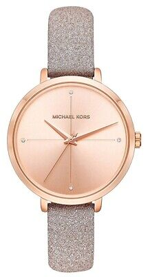 Michael Kors Ladies Charley Rose Gold -Tone Glitter Leather Watch  - MK2794