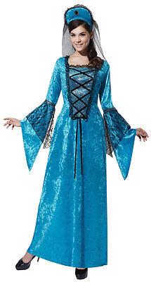 Damen Tudor-Kostüm Mittelalterliche Königin Lange Blaue Kostüm Outfit 12-14 Neu
