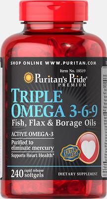 Puritans Pride Triple Omega 3 6 9 Fish  Flax   Borage Oils   240 Softgels