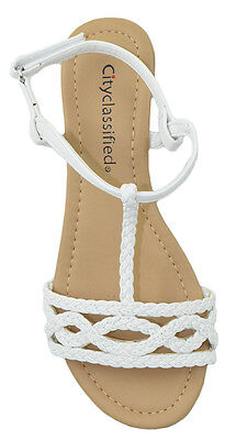 City Classified Women Shoes Sandals Ankle T Strap Braided Slingback White Ennis