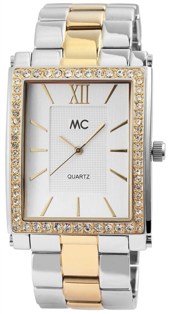 MC Damen Armbanduhr - Eckig Quarz Damenuhr 35mm Uhr Metallband silber bicolor