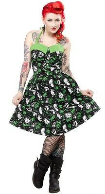 Horror Movie Dress (SOURPUSS - CLASSIC HORROR MOVIE MONSTERS HALTER DRESS *NEW* / PINUP,)