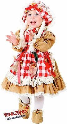 Italienische Herstellung Mädchen Deluxe Vogelscheuche Karneval Büchertag Kostüm (Vogelscheuche Mädchen Kostüm)