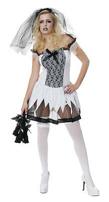 SEXY CORPSE BRIDE HALLOWEEN GHOST WEDDING ZOMBIE TEEN FANCY DRESS OUTFIT COSTUME