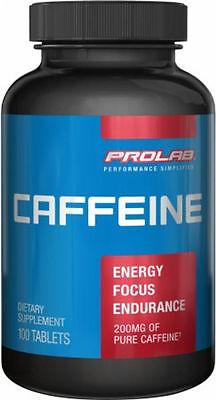 PROLAB CAFFEINE*100 TABS* NEW-SEALED-AUTHENTIC     FREE SHIPPING (Caffeine Free)