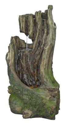 Hampton Bay Outdoor/Indoor Fountain 2-Tier Resin Nature Log Fountain Green
