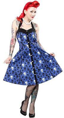 Dressing Goth For Halloween (SOURPUSS LUST FOR SKULLS PEGGY HALTER DRESS BLUE ROCKABILLY GOTH HALLOWEEN)