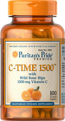 Puritans Pride Vitamin C 1500 Mg With Rose Hips Timed Release   100 Caplets