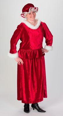 Mrs. Santa Costume 3Pc Rich Burg Velour & Faux Fur Top Skirt & Mob Cap Plus  - Santa Skirt Costume