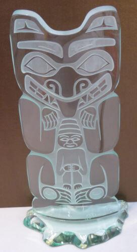 Northwest Coast Luminous Glass Art Totem Limited Edition Signed David Montpetit