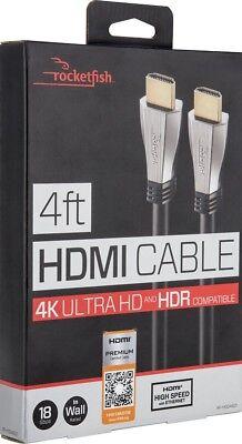Rocketfish- 4' 4K Ultra HD In-Wall HDMI Cable - Black