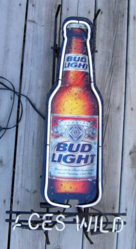 Commercial Bud Light Beer Bottle Bar Sign Broken Neon Parts Aces Wild Budweiser