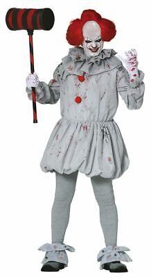 Herren-Kostüm Killer Clown Pennywise Halloween gruselig Horror Es Mörder (Clown Pennywise Kostüm)