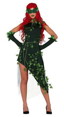 Poison Ivy Damen Kostüm Kleid Pflanzen-Schurkin Waldfee Eva Efeu Batman (Grüne Kostüm Kleid)