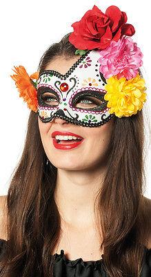 Tag der Toten Bunte Rosen Maske NEU - Karneval Fasching Maske Gesicht ()