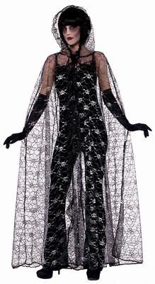 FoN - Halloween Damen Kostüm Zubehör Cape Totenkopf mit Kapuze