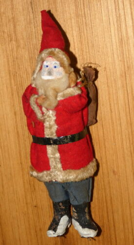 Vintage 1930s Christmas Belsnickle Santa with Clay Face and Toy Bag Japan