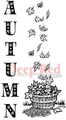 Deep Red Stamps Autumn Leaves Border Rubber Cling Stamp