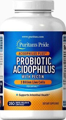 250 Probiotics Acidophilus Lactobacillus Capsules Men Women   Puritans Pride