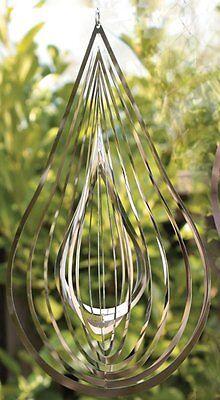 G2147: Garten Windspiel Tropfen, Gartendeko, Moderne Gartenfigur Edelstahl Optik