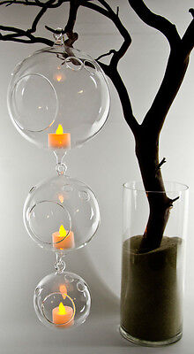 Hanging Glass Flower Vase - Tea light Holder 3 sizes available - Clear Holiday