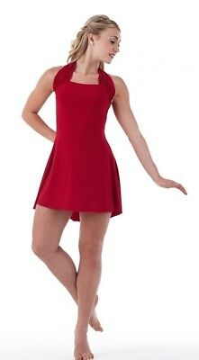 Costume With Red Dress (Simplicity Dance Costume RED Ballet Tap Dress with Separate Trunks Adult)