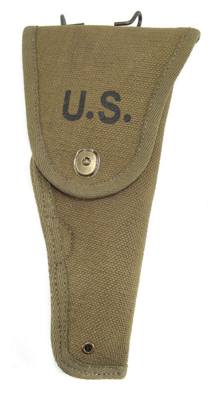US WW2 M1916 Colt 1911 .45 Holster OD Cotton Webbing Experimental M1Holster