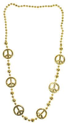 Disco Halskette Peace - Gold - Perlenkette zum Hippie 70er Disko Queen Kostuem (Kostüm Gold Kette)