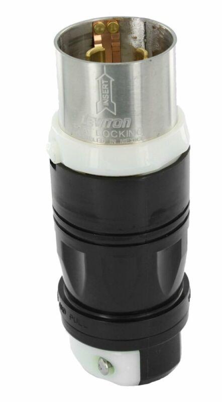 Leviton 3765C 50Amp, 250V DC/600V AC, Non-NEMA, 3P 4W Black & White Locking Plug