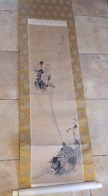 Chinese Painting Scroll Lohan God & Turtle Signed & Stamped Japanese
