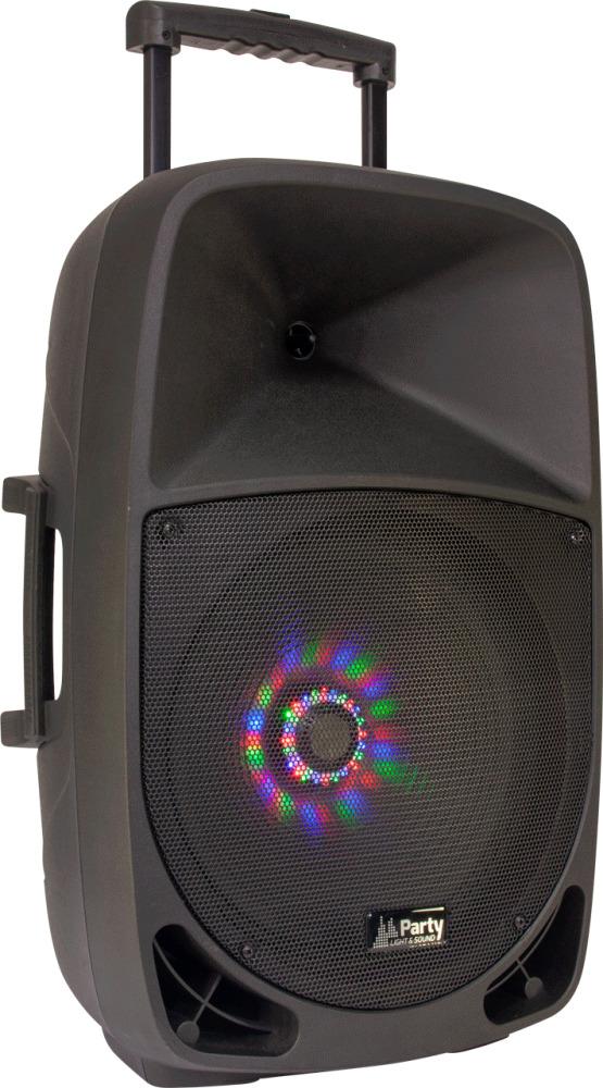 "PARTY-15LED TRAGBARES AKKU 15"" Soundsystem Lautsprecher Box Trolley Mikrofon Set"