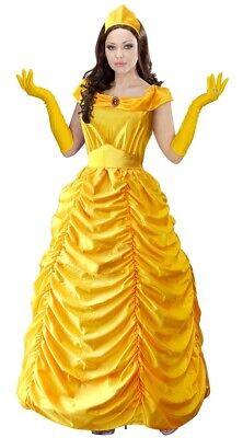 Beauty Queen Bella Märchen Prinzessin Kostüm für Damen Gelb Maskenball (Kostüm Für Maskenball)