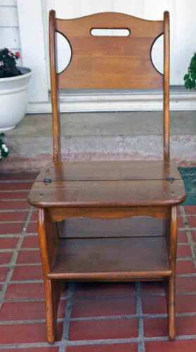 """Vintage Step Chair Stool Unusual Wooden 34"""" Tall"""