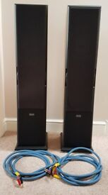 ACOUSTIC ENERGY AEGIS 3 SPEAKERS FLOOR STANDING WITH QUAD QLSCR4 CABLES