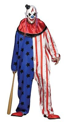 Evil Clown Herren-Kostüm Sterne-Overall inkl. Maske Horror Halloween Gr. L-XXL (Halloween Kostüm Weiße Overalls)