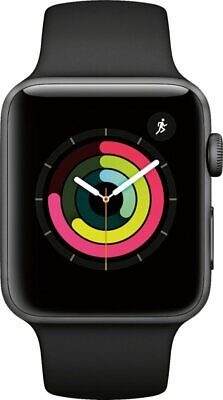 NEW Apple Series 3 42mm GPS Smart Watch - Space Gray MTF32LL/A Black Sports Band