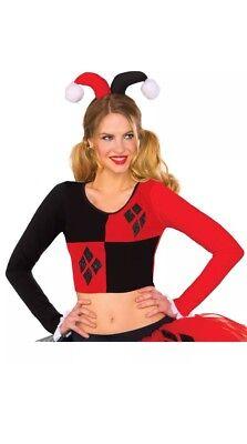 Classic Adult Comics (Adult's Womens Classic DC Comics Harley Quinn Crop Top Shirt Costume Size)