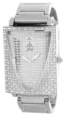 Jpm Mens Silver Tone Dial Stainless Steel Bracelet Diamond Watch Extasy