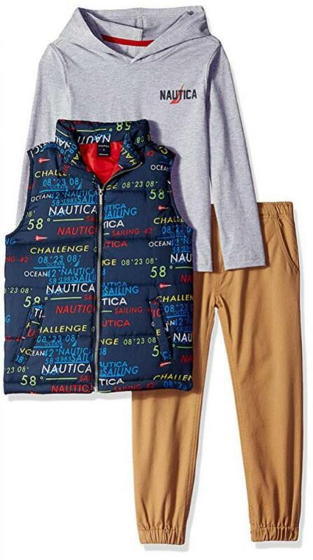 Nautica Boys Logo Vest 3pc Pant Set Size 4 5 6 7 $89.50