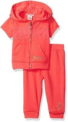 Juicy Couture Kleinkind Mädchen Korallenrot 2 Stück Jogging Set Size 3/6M 6/9M ()