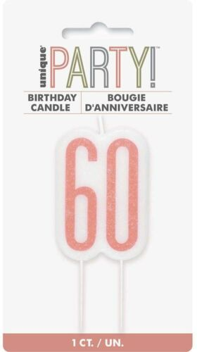 UNIQUE - ROSE GOLD AND WHITE AGE 60 - 60TH BIRTHDAY CANDLE