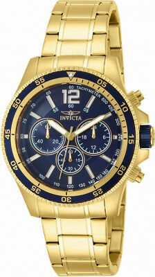 Invicta Specialty 13978 Men's Round Blue Analog Chronograph Gold Tone Watch