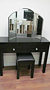 Venetian Black Glass 2 Drawer Dressing Table Set  - bedroom furniture