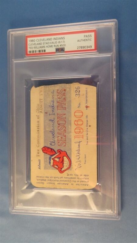 1960 Ticket Pass Psa Ted Williams 500 Hr At Cleveland Indians Vs Boston Red Sox