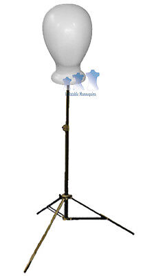 Blank White Unisex Head Styrofoam And Adjustable Tripod Stand