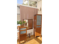 Tall and short drawer cherrywood units with a matching mirror - for bathroom or bedroom