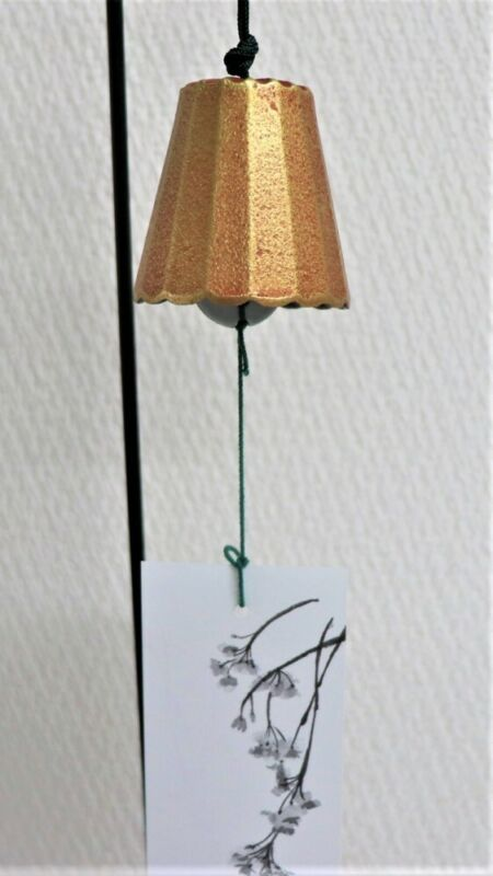 Furin Japanese wind chime Bell Nanbu Cast Iron Gold color Large size Japan