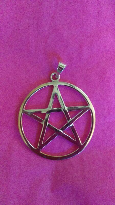 "Large solid sterling silver Pentacle, Pentagram, 1 1/4"" Pagan, Wiccan, Goth,"