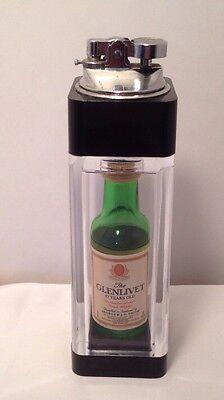 """Vintage  LIGHTER with Mini """"GLENLIVET SCOTCH"""" Bottle, Encased in LUCITE - Unique"""
