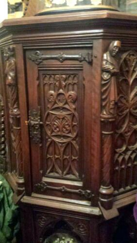 Antique Vestry Church cabinet Belgium Gothic Jacobean style c. 1880s